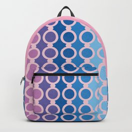 stripes and circles in blue and pink Backpack