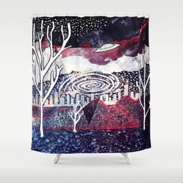 Night Travels revisited Shower Curtain
