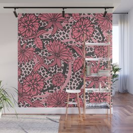 Pink Floral Black White Leopard Print Wall Mural