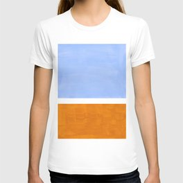Pastel Royal Blue Yellow ochre Mid Century Modern Abstract Minimalist Rothko Color Field Squares T-shirt