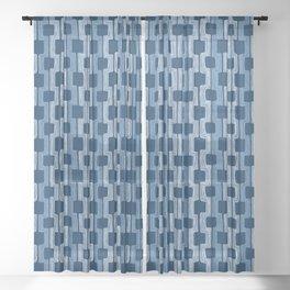 blue line Sheer Curtain