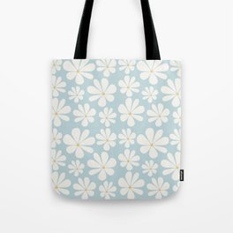 Floral Daisy Pattern - Blue Tote Bag
