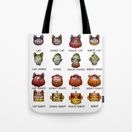 Cat Zombie Pirate Robot Tote Bag