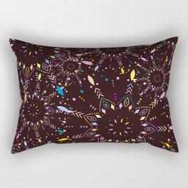 Colorful Boho Mandalas, Trippy Hippie Pattern Rectangular Pillow