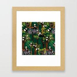 Both Species of Panda - Green Framed Art Print