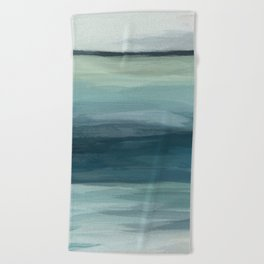Seafoam Green Mint Navy Blue Abstract Ocean Art Painting Beach Towel