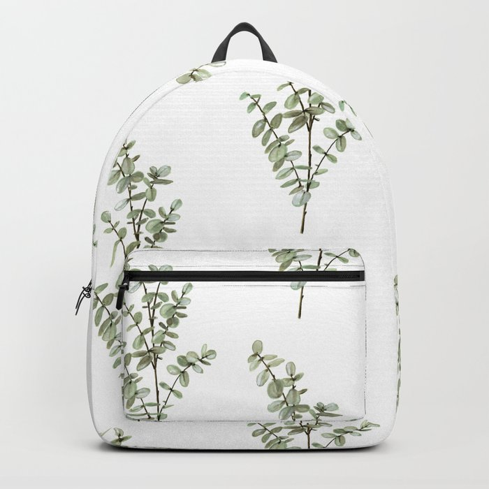 Baby Blue Eucalyptus Watercolor Painting Backpack