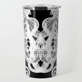 Octopus Black and White Travel Mug