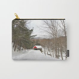 Red Covered Bridge in a Snowy Mountain Forest Carry-All Pouch