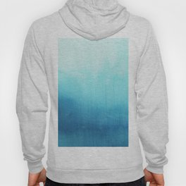 Modern teal sky blue paint watercolor brushstrokes pattern Hoody