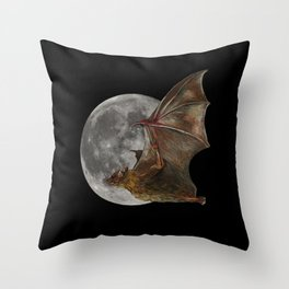 Full Moon Flight Throw Pillow