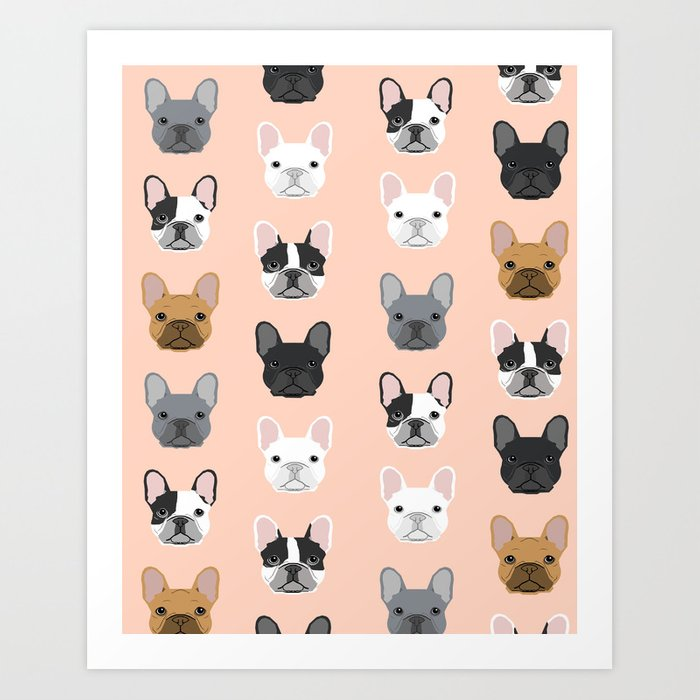 French Bulldog portraits pattern dog person gift love animal pet puppy frenchie bulldog portrait Kunstdrucke