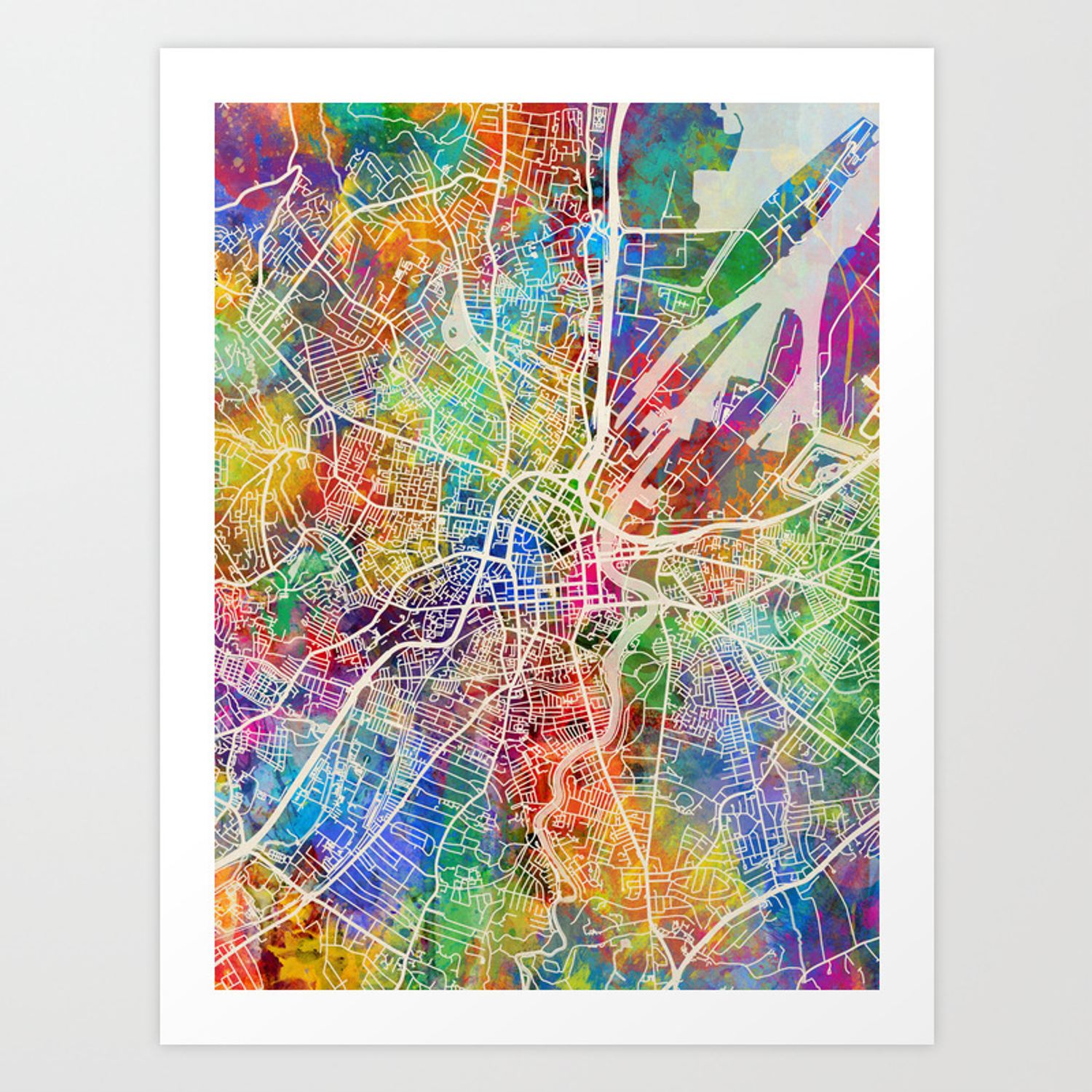 Belfast northern ireland city map art print