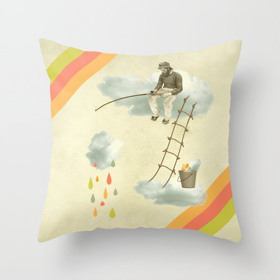 The fisherman who was cleaning the sky from the clouds Throw Pillow