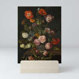 """Cornelis Kick """"A still life with parrot tulips, poppies, roses, snow balls, and other flowers"""" Mini Art Print"""