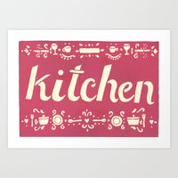 kitchen Art Prints featuring Kitchen by Leah Doguet