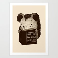 Hedgehog Book Don't Hurt The Ones You Love Art Print