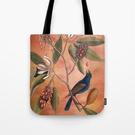Blue Grosbeak with Sweetbay Magnolia, Vintage Natural History and Botanical Tote Bag