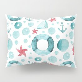 Watercolor hand drawn seamless pattern with a nautical theme Pillow Sham