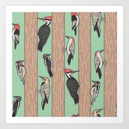 Woodpeckers Pecking Art Print