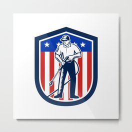 American Pressure Washing USA Flag Shield Retro Metal Print