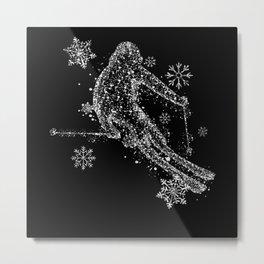 Skier - Snow Flakes Graphic Metal Print