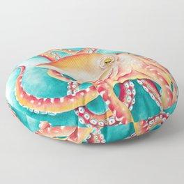 Orange Ted Octopus Tentacles Teal Watercolor Floor Pillow