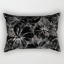 Black and Salmon Flowers Rectangular Pillow