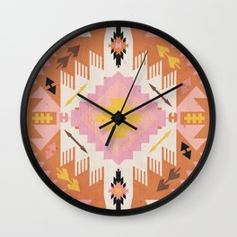 Tribal Kilim Orange Wall Clock