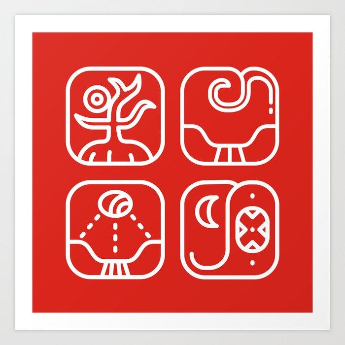 Mayan Glyphs ~ Nature Art Print