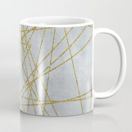 Golden Faux Glitter Lines On Teal Grey Coffee Mug