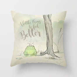 The frog under the rain 2 Throw Pillow