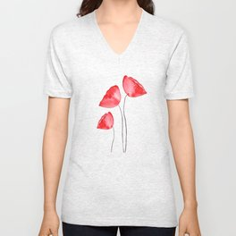 3 red poppies watercolor Unisex V-Neck