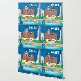 Omaha, Nebraska - Skyline Illustration by Loose Petals Wallpaper
