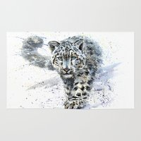 snow leopard Area & Throw Rugs featuring snow leopard by KOSTART