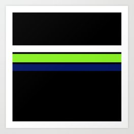 Team colors....Neon green .navy and white on black Art Print