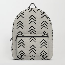 Black ink brushed arrow heads pattern with textured neutral background Backpack