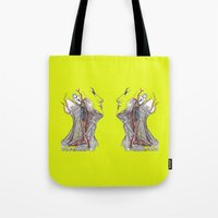 anatomy Tote Bags featuring Dual anatomy by Antoine