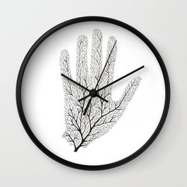 Hand Branches - Black Wall Clock