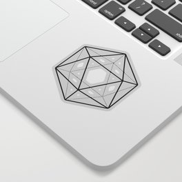 Icosahedron Pattern Bright Blue Sticker