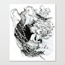 Pandora opens the vase under a weeping willow Canvas Print