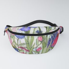 Colorful Garden Flower Acrylic Painting Fanny Pack