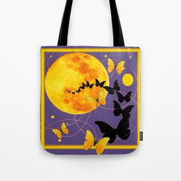 Puce Color Butterfly Full Moon Art Abstract Tote Bag