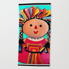 Mexican Maria Doll (turquoise) Beach Towel