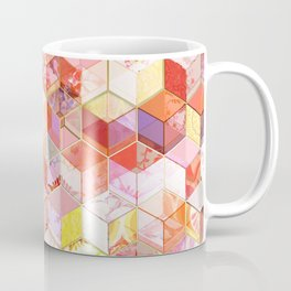 Gold and Garnet Kaleidoscope Cubes Coffee Mug