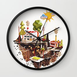 Floating Island in Low Poly style Wall Clock