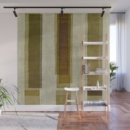 """Burlap Texture Greenery Columns"" Wall Mural"
