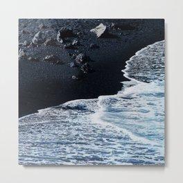 Tropical Black Sand Beach With Luxurious Ocean Surf Metal Print