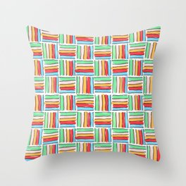 More Bright Retro Weave Throw Pillow