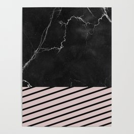 MARBLE & PALE DOGWOOD STRIPES Poster